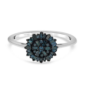 Blue Diamond Ring in Platinum Overlay Sterling Silver 0.50 Ct.
