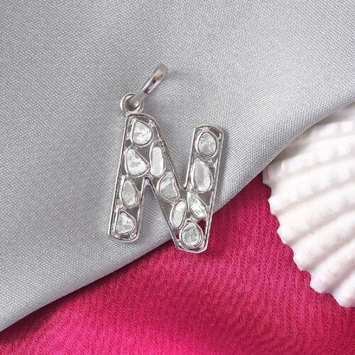 Artisan Crafted Polki Diamond Initial N Pendant in Platinum Overlay Sterling Silver 0.50 Ct.