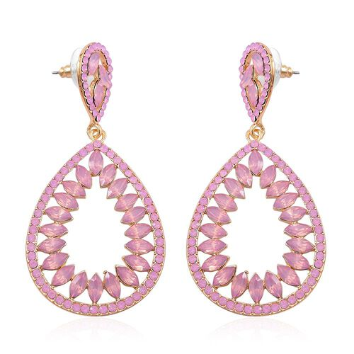 Designer Inspired-Simulated Pink Sapphire Teardrop Earrings (with Push Back) in Yellow Gold Tone