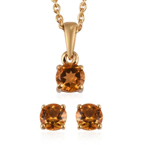 Set of 2 -  Citrine Stud Earrings and Pendant with Chain (Size 18) in 14K Yellow Gold Overlay Sterli