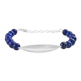 Lapis Lazuli Beads Bracelet (Size 7 with 1.5 inch Extender) in Sterling Silver 68.00 Ct.