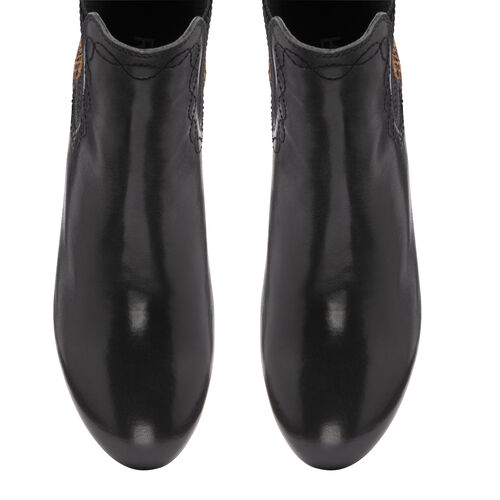 Ravel Moa Snake Pattern Leather Heeled Ankle Boots (Size 4) - Black