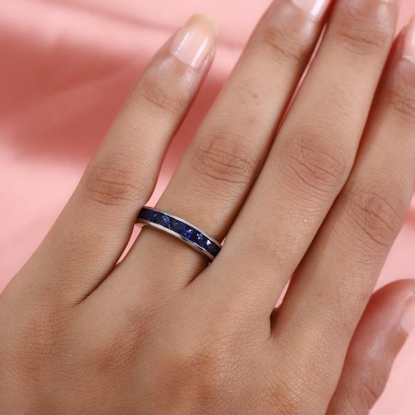 RHAPSODY 950 Platinum AAAA Ceylon Sapphire Half Eternity Ring 1.76 Ct, Platinum wt. 5.60 Gms