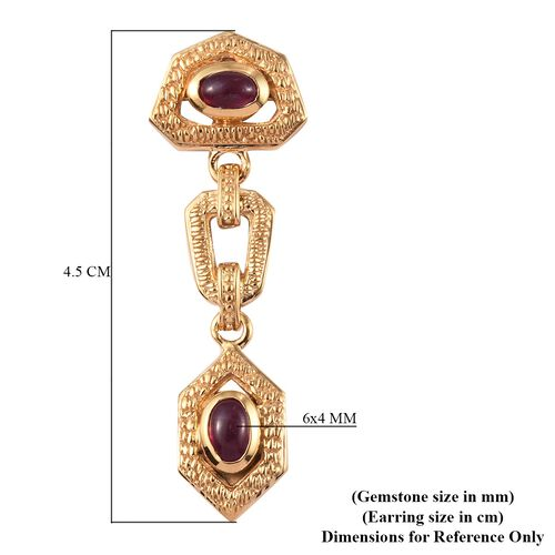 African Ruby Dangle Earrings (with Push Back) in 14K Gold Overlay Sterling Silver 2.75 Ct, Silver wt. 6.50 Gms