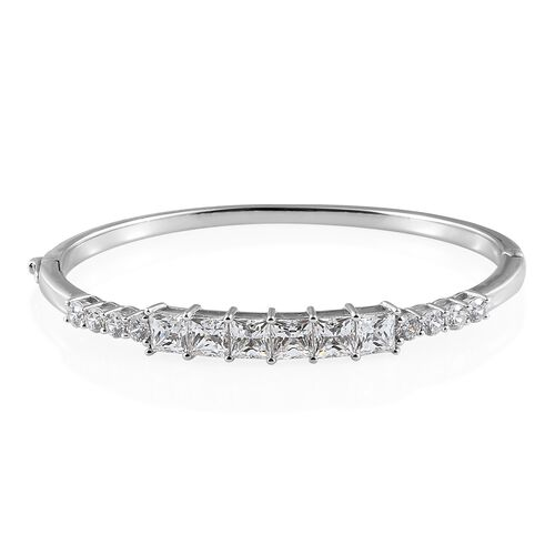 J Francis Platinum Overlay Sterling Silver Bangle (Rnd and Sqr) (Size 7.5) Made with SWAROVSKI ZIRCO