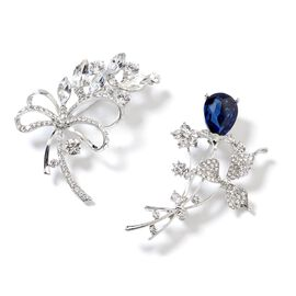 Set of 2 Simulated Blue Sapphire (Pear), White Austrian Crystal and Simulated Diamond Flower Bouquet Brooch