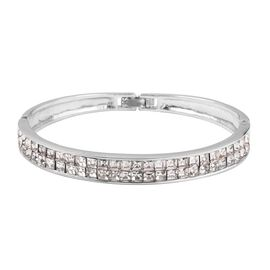 White Austrian Crystal (Sqr) Bangle (Size 7.5) in Silver Tone