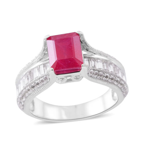 African Ruby (Oct 3.70 Ct), White Topaz Ring in Rhodium Plated Sterling Silver 7.000 Ct. Silver wt 5.25 Gms.