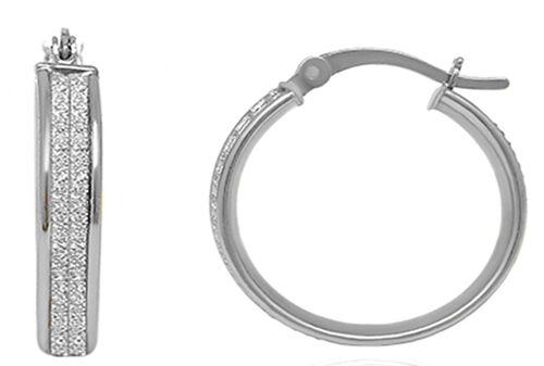 New York Close Out Sterling Silver Simulated Diamond Spritz Hoop Earrings (with Clasp)