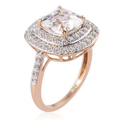 J Francis - 9K Yellow Gold Halo Ring Made with SWAROVSKI ZIRCONIA 5.00 Ct. Gold Wt 3.00 Grams