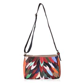 100% Genuine Leather Multicolour Leaf Applique Crossbody Bag with Shoulder Strap (115 Cm) and Extern