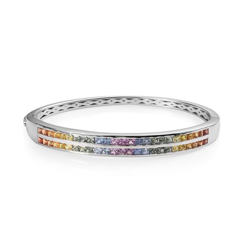 6 Carat AAA Rainbow Sapphire Stacker Bangle in Platinum Plated Sterling Silver 7.5 Inch