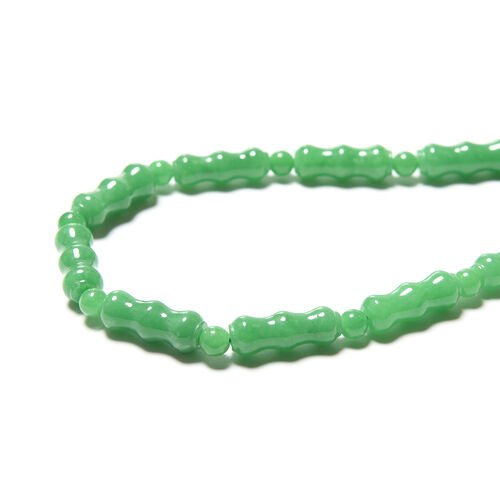Limited Edition- Green Jade Beads Necklace (Size 24) in Rhodium Overlay Sterling Silver 318.00 Ct.