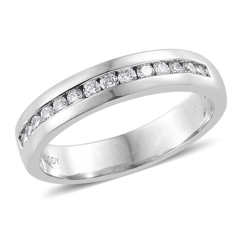 RHAPSODY 0.25 Ct Diamond Half Eternity Band Ring in 950 Platinum 4.76 Grams IGI Certified VS EF