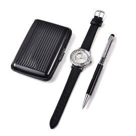3 Piece Set - STRADA Japanese Movement Crystal Studded Water Resistant Watch with Black Strap, Card