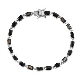 6.50 Ct Elite Shungite Tennis Bracelet in Platinum Plated Sterling Silver 9.27 Grams 8 Inch