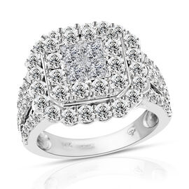 Close Out Deal Limited Available 14K White Gold (I1 /G-H) Diamond (Sqr and Rnd) Ring 3.000 Ct, Gold wt 8.50 Gms.