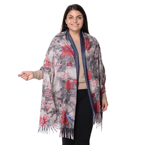 Reversible Digital Printed Peony Pattern Scarf with Tassel (Size 70x180 Cm) - Navy and Red