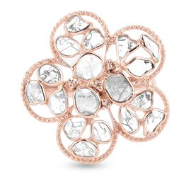 Artisan Crafted Polki Champagne and Champagne Diamond Floral Ring in Rose Gold Overlay Sterling Silv