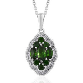 Russian Diopside (Mrq), Natural Cambodian Zircon Pendant With Chain in Platinum Overlay Sterling Silver 2.610 Ct.