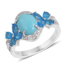 3.64 Ct Sleeping Beauty Turquoise and Multi Gemstone Floral Ring in Platinum Plated Sterling Silver