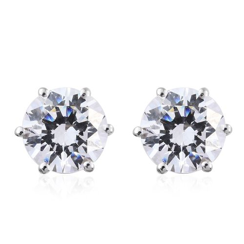 J Francis - Platinum Overlay Sterling Silver (Rnd 8mm) Stud Earrings (with Push Back) Made with SWAROVSKI ZIRCONIA