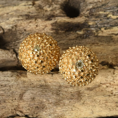 Yellow Diamond (Rnd) Ball Stud Earrings (with Push Back) in Platinum Overlay with Gold Plating Sterling Silver