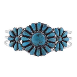 Santa Fe Collection - Turquoise Bangle in Sterling Silver 13.00 Ct, Silver Wt. 22.00 Gms