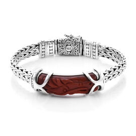 Royal Bali Collection - Red Jade Dragon Carved Bracelet (Size 7.5) in Sterling Silver 28.10 Ct, Silv