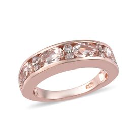 2 Carat Marropino Morganite and Zircon Band Ring in Rose Gold Plated Sterling Silver