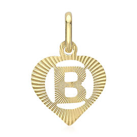 9K Yellow Gold Diamond Cut Heart Initial B Pendant