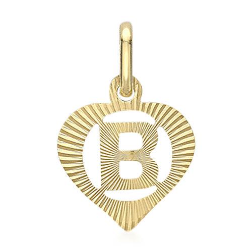 9K Yellow Gold Diamond Cut Heart Initial B Pendant