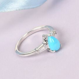 Arizona Sleeping Beauty Turquoise and Natural Cambodian Zircon Ring in Platinum Overlay Sterling Silver 1.00 Ct.