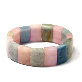 One Time Deal - Very Rare Size Multi Colour Beryl (Rectangular 18X13 mm) Stretchable Bracelet (Size 6.5) 254.500 Ct.