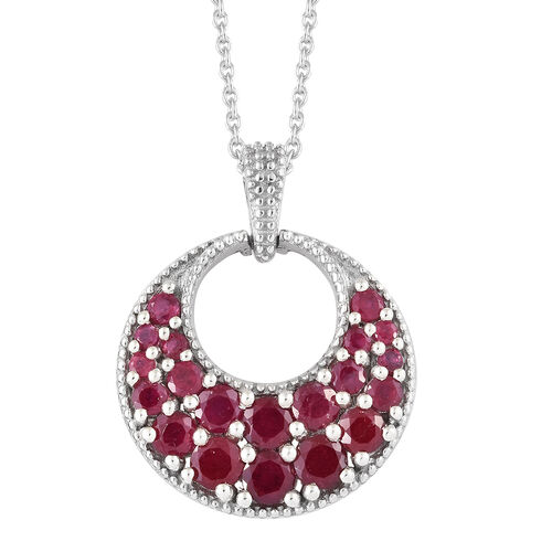 Designer Inspired-African Ruby (Rnd) Circle Pendant With Chain in Platinum Overlay Sterling Silver 3