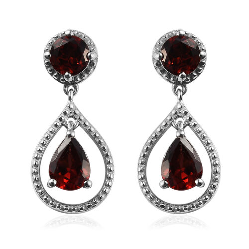 Mozambique Garnet (Rnd and Pear) Drop Earrings in Platinum Overlay Sterling Silver 2.43 Ct.
