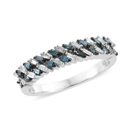 Blue and White Diamond (Bgt) Band Ring in Platinum Overlay with Blue Plating Sterling Silver 0.330 C