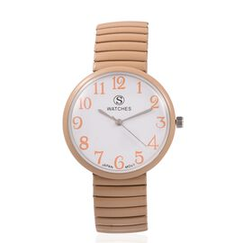 One Time Deal- Designer Inspired STRADA Japanese Movement Water Resistant Stretchable Watch with Khaki Colour Strap