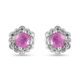 Pink Sapphire and Natural Cambodian Zircon Floral Stud Earrings (with Push Back) in Platinum Overlay