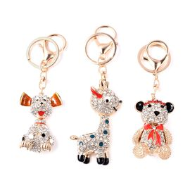 Set of 3 - Multicolour Austrian Crystal Dog, Sika Deer and Teddy Bear Enamelled Keychain in Gold Ton