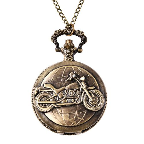 STRADA Japanese Movement Motorcycle Pattern Pocket Watch with Chain (Size 31) in Antique Bronze Plat