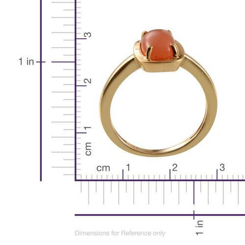 Mitiyagoda Peach Moonstone (Cush) Solitaire Ring, Pendant With Chain and Stud Earrings (with Push Back) in 14K Gold Overlay Sterling Silver 7.000 Ct.