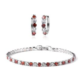 Set of 2 - Simulated Red Garnet (Rnd), Simulated Diamond Earrings (with Clasp) and Bracelet (Size 7)