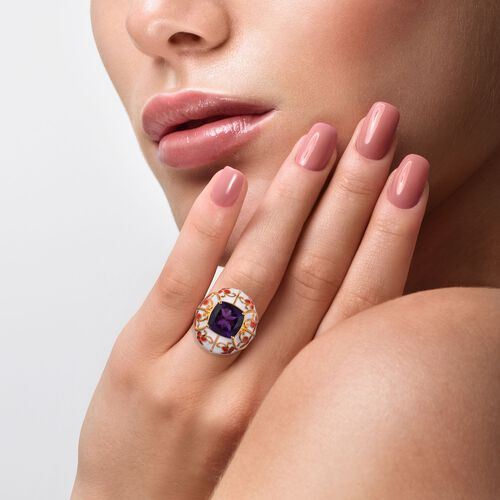 GP Amethyst (Cush 11x11mm), Blue Sapphire Enamelled Ring in 14K Gold Overlay Sterling Silver 5.28 Ct, Silver wt 10.50 Gms