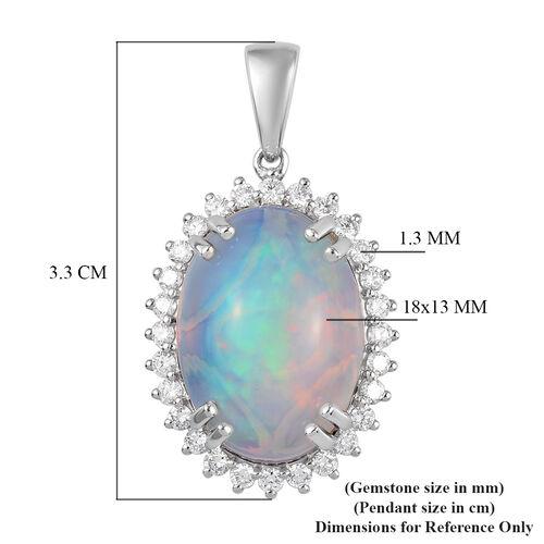 RHAPSODY 950 Platinum AAAA Ethiopian Welo Opal and Diamond  Pendant 8.00 Ct, Platinum wt 5.00 Gms