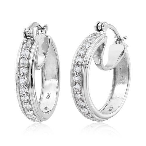 1.50 Ct Natural Cambodian Zircon Hoop Earrings in Platinum Plated Silver 5.00 gms (with Clasp)