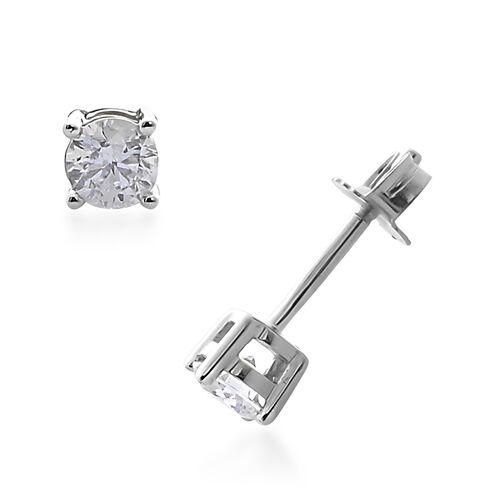 9K White Gold SGL Certified (I3/G-H) Diamond (Rnd) Earrings (with Push Back) 0.300 Ct.