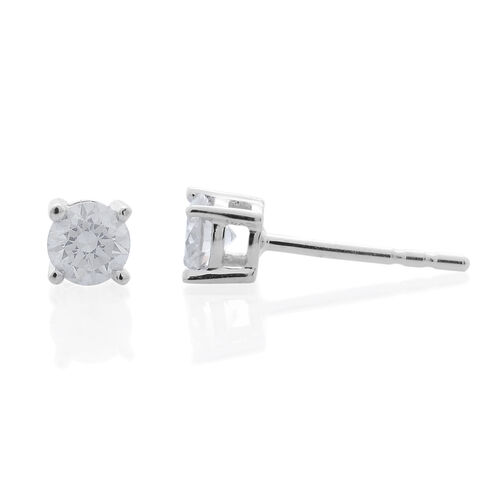 9K White Gold SGL Certified Diamond (Rnd) (I3/G-H) Stud Earrings 0.400 Ct.