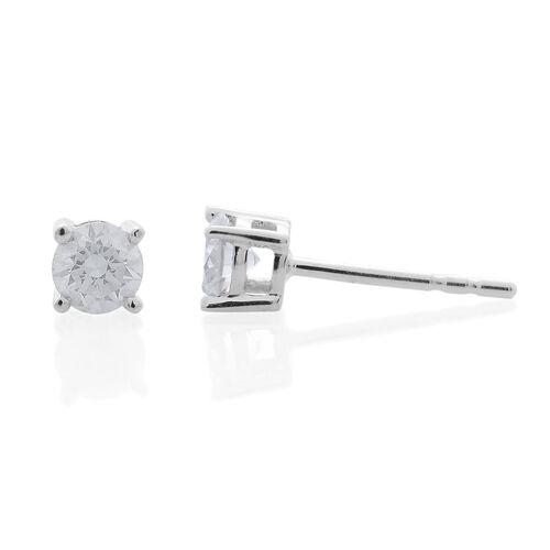 9K White Gold SGL Certified Diamond (Rnd) (I3/G-H) Stud Earrings 0.400 Ct.