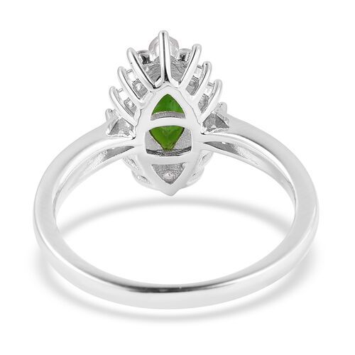 Russian Diopside (Mrq 1.15 Ct), Natural White Cambodian Zircon Ring in Rhodium Overlay Sterling Silver 1.720 Ct.